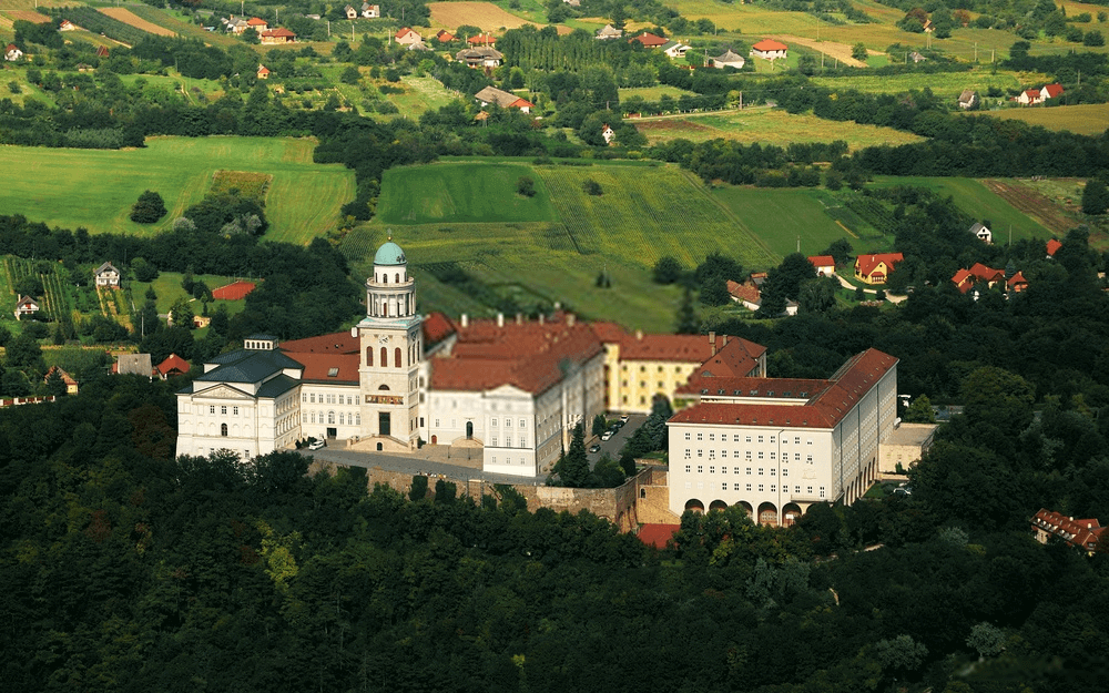 Pannonhalma Archabbey aerial view in Hungary